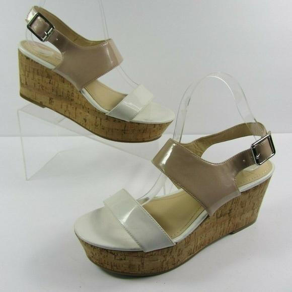 23dab77062 Calvin Klein Shoes | Lorianne White Beige Platform Sandal | Poshmark